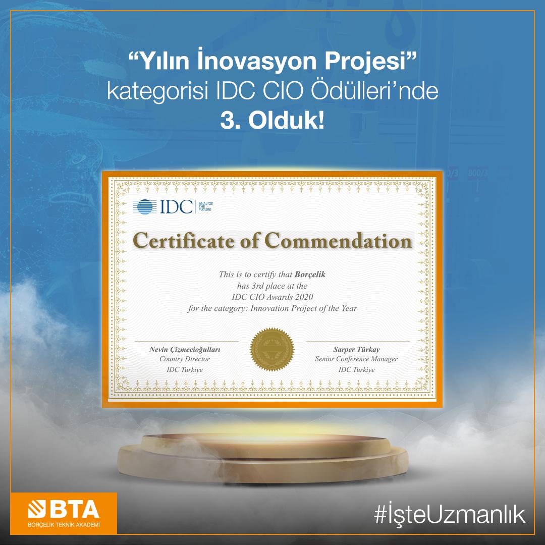 Yılın İnovasyon Projesi kategorisi IDC CIO Ödülleri'nde 3. Olduk!